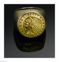 Jewelry, A GOLD COIN MEN'S RING. The 14k yellow gold men's ring with a 1911 Liberty Indian Five Dollar Coin. ... (Total: 1 Item Item)