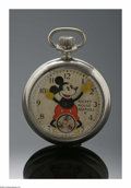 Clocks & Mechanical, A COLLECTOR'S MICKEY MOUSE POCKETWATCH. Ingersoll, U.S.A.. The silver pocketwatch, white dial with Mickey's arms as hands ...