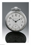Timepieces:Pocket (pre 1900) , A SILVER POCKETWATCH. Illinois Watch Co.. The silver pocketwatchwith Arabic numerals, wind and steamtrain engraved to the...