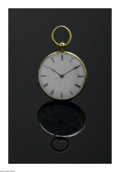 Clocks & Mechanical, A LADY'S GOLD POCKETWATCH. The 14k yellow gold timepiece with Roman numerals to white dial, exterior of backplate with bla...