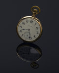 Clocks & Mechanical, A GOLD POCKETWATCH. Hamilton Watch Co., Lancaster, Pennsylvania. The yellow gold timepiece with white dial and Arabic nume...
