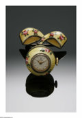 Clocks & Mechanical, A SWISS ENAMEL PENDANT TIMEPIECE. Bucherer, Switzerland. The egg-shaped pendent of silver with enameling, original dials s...