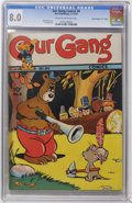 "Golden Age (1938-1955):Funny Animal, Our Gang #8 Davis Crippen (""D"" Copy) pedigree (Dell, 1943)Condition: CGC VF 8.0 Cream to off-white pages. ..."