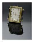 Clocks & Mechanical, A SWISS GOLD WATCH CASE. Longines. The 14K gold square case, champagne dial with dash numerals, marked to exterior of back...