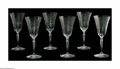 Art Glass:Other , SIX AMERICAN CUT GLASS GOBLETS. Maker unknown, Twentieth Century.The matching set of six wine goblets, cut to depict flow... (Total:6 )
