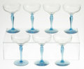 Art Glass:Other , SEVEN CHAMPAGNE GLASSES. Maker unknown, Twentieth Century. Thegroup of seven champagne glasses with blue stem and base, r...(Total: 7 )