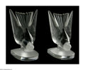 Art Glass:Lalique, TWO FRENCH GLASS BOOKENDS. Lalique, Twentieth Century. The matchingfooted bookends of landing birds, both frosted and cle... (Total: 2)