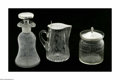 Art Glass:Other , THREE AMERICAN SILVER AND GLASS ITEMS. Mark of Watson Company,Attleboro, MA, c.1900. The group comprising of a glass jar ...(Total: 3 )