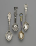 Other:American, FOUR SOUVENIR SPOONS. Gorham, Providence, RI and various makers,Late 19th Century. The group comprising of one sterling B...(Total: 4 Items)