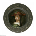 Ceramics & Porcelain, Continental:Other , A HAND-PAINTED CHARGER WITH METAL FRAME. Maker unknown. Thehand-painted ceramic charger with female portrait in bronze fr...