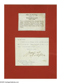 Other:American, WILLIAM TAFT SIGNATURE, FORMER PRESIDENT. Signed letter written toMr. Fred Starek, Cincinnati Enquirer Bureau. Ink on paper...