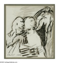 Fine Art - Painting, American:Modern  (1900 1949)  , PROBST (American 1913 - ). Abstract Figures, 1946. Ink wash onpaper. 9 x 8in.. Signed lower left. ...