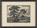 Prints:American, BIRGER SANDZEN (American 1871 - 1954). Hills and CottonwoodTrees. Wood print. 6.2 x 8in.. Signed in pencil lower margin...