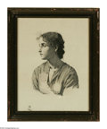 Prints:American, HANS HEYER. Women's Portrait on Silk, 2 Sept. 1871. Print on silk.11 x 14in.. Signed and dated lower right (on woman's arm)...