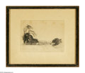 Prints:European Modern, NATURE SCENE. Etching. 5.5 x 4in.. Unsigned. ...