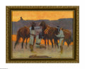 Prints:American, FREDERICK REMINGTON (American 1861 - 1909). The Shadows At TheWater Hole, 1914. Period print on paper. 13.5 x 10.25in.. ...