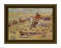 Prints:American, FREDERICK REMINGTON (American 1861 - 1909). The Rendezvous, a.k.a.Gathering of the Trappers, 1914 (Collier print). Period p...