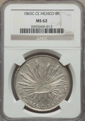 Mexico, Mexico: Republic 8 Reales 1865 C-CE MS62 NGC,...