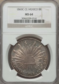 Mexico, Mexico: Republic 8 Reales 1860 C-CE MS64 NGC,...