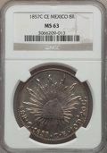 Mexico, Mexico: Republic 8 Reales 1857 C-CE MS63 NGC,...