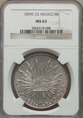 Mexico, Mexico: Republic 8 Reales 1859 C-CE MS63 NGC,...