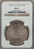 Mexico, Mexico: Republic 8 Reales 1886 Cn-AM MS62 NGC,...