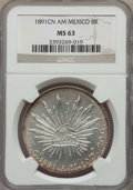 Mexico, Mexico: Republic 8 Reales 1891 Cn-AM MS63 NGC,...