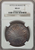 Mexico, Mexico: Republic 8 Reales 1877 Ca-GR MS63 NGC,...