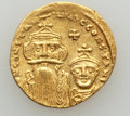 Ancients:Byzantine, Ancients: Constans II (AD 641-668) & Constantine IV (AD654-685). AV solidus (20mm, 4.36 gm). XF, graffito, clipped....