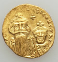 Ancients:Byzantine, Ancients: Constans II (AD 641-668) & Constantine IV (AD654-685). AV solidus (4.33 gm). VF, clipped....