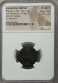 Ancients:Byzantine, Ancients: Manuel I Comnenus (AD 1143-1180). AE tetarteron (5.43gm). NGC Choice XF 4/5 - 4/5. ...