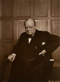 Photographs:Gelatin Silver, Yousuf Karsh (Canadian, 1908-2002). Winston Churchill, 1941.Sepia toned gelatin silver. 9 x 6-3/4 inches (22.9 x 17.1 c...
