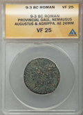Ancients:Roman Provincial , Ancients: Augustus (27 BC-AD 14), with Marcus Agrippa (died 12 BC).AE26. ANACS VF 25....