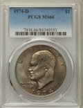 Eisenhower Dollars, 1974-D $1 MS66 PCGS. PCGS Population: (551/25). NGC Census: (635/10). Mintage 45,517,000. ...