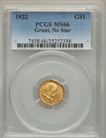 Commemorative Gold, 1922 G$1 Grant Gold Dollar, No Star, MS66 PCGS....