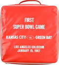 Football Collectibles:Others, 1967 Super Bowl I Seat Cushion....