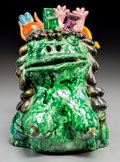 Fine Art - Sculpture, American:Contemporary (1950 to present), David James Gilhooly (American, 1943-2013). Big ChestedFrog, 1971. Ceramic painted and glazed. 10-1/2 x 7 x 7 inches(2...