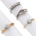Estate Jewelry:Rings, Diamond, Gold Rings . ... (Total: 4 Items)