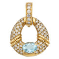 Estate Jewelry:Pendants and Lockets, Diamond, Aquamarine, Gold Pendant . ...