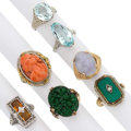 Estate Jewelry:Rings, Diamond, Multi-Stone, Gold Rings . ... (Total: 7 Items)