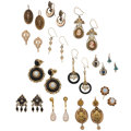Estate Jewelry:Earrings, Multi-Stone, Seed & Cultured Pearl, Gold, Yellow Metal Earrings. ... (Total: 13 Items)