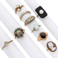 Estate Jewelry:Rings, Diamond, Multi-Stone, Cultured Pearl, Gold Rings . ... (Total: 9Items)