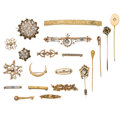 Estate Jewelry:Brooches - Pins, Diamond, Multi-Stone, Seed Pearl, Enamel, Gold, Yellow Metal Brooches. ... (Total: 20 Items)