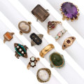 Estate Jewelry:Rings, Diamond, Multi-Stone, Cultured Pearl, Gold Rings. ... (Total: 13 Items)