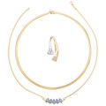 Estate Jewelry:Necklaces, Diamond, Tanzanite, Gold Necklaces . ... (Total: 2 Items)
