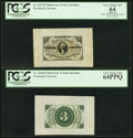 Fractional Currency:Third Issue, Fr. 1227SP 3¢ Third Issue Wide Margin Face PCGS Apparent Very Choice New 64;. Fr. 1226SP 3¢ Third Issue Wide Margin Back P... (Total: 2 notes)