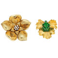 Estate Jewelry:Brooches - Pins, Diamond, Enamel, Synthetic Ruby, Gold Brooches . ... (Total: 2 Items)