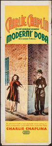 """Movie Posters:Comedy, Modern Times (United Artists, 1936). Czech Insert (12.25"""" X 35"""").Comedy.. ..."""