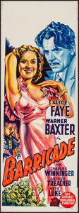 "Movie Posters:Adventure, Barricade (20th Century Fox, 1939). Australian Pre-War Daybill (13""X 39.75""). Adventure.. ..."