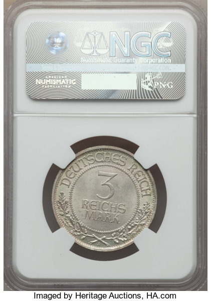 Germany Weimar Republic 3 Mark 1926 A Lubeck MS65 NGC